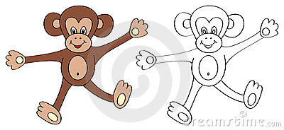 coloring book page for kids monkey