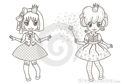 Coloring  book page - princesses 1
