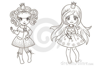 Coloring  book page - princesses 2