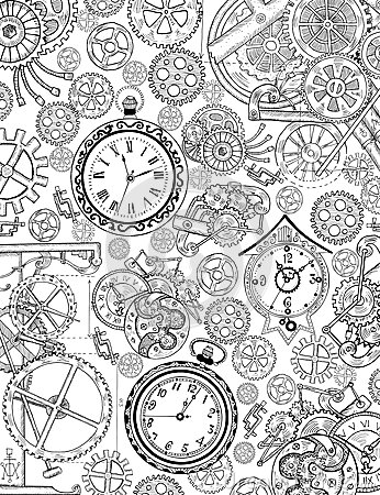 Free Coloring Book Page With Mechanical Details And Old Clocks Royalty Free Stock Images - 75741299