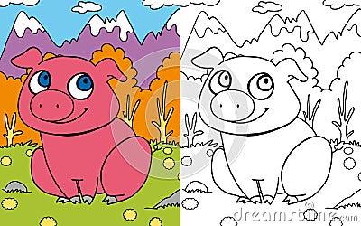 Coloring book pig
