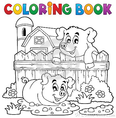 Free Coloring Book Pig Theme 3 Stock Photo - 34108480