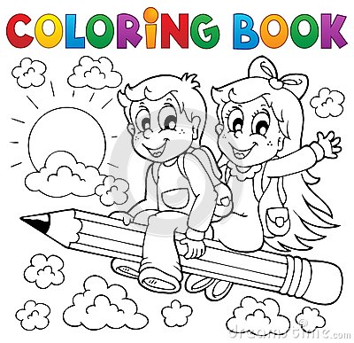 Free Coloring Book Pupil Theme 3 Stock Images - 32526904