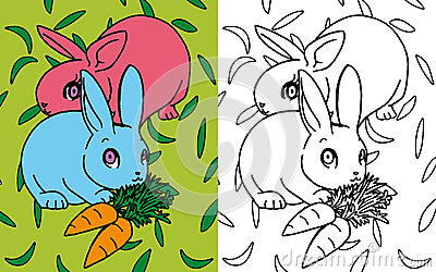 Coloring book rabbits