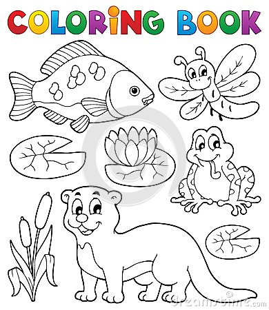 Coloring book river fauna image 1