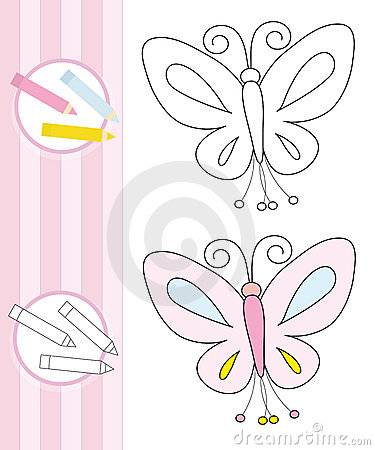 Coloring book sketch: butterfly