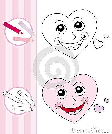 Coloring book sketch: cute heart