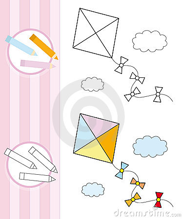 Coloring book sketch: flying kite