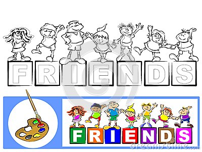 Coloring Book Sketch: the friends