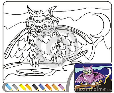 Coloring Book Sketch: The night owl