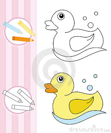 Coloring book sketch: rubber duck