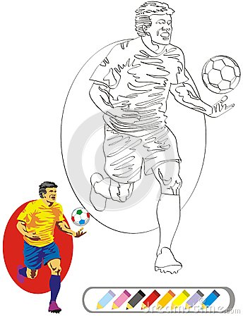 COLORING BOOK SKETCH: Soccer Player