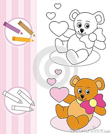 Coloring book sketch: teddy bear