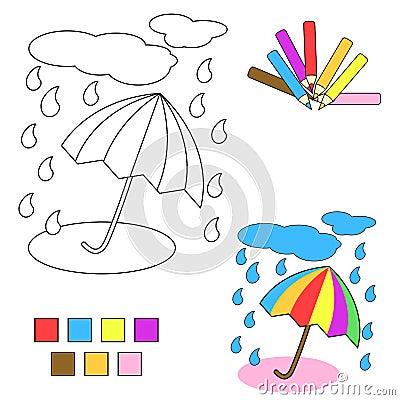 Coloring book sketch : umbrella