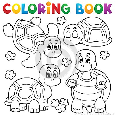 Free Coloring Book Turtle Theme 1 Stock Photos - 28185913