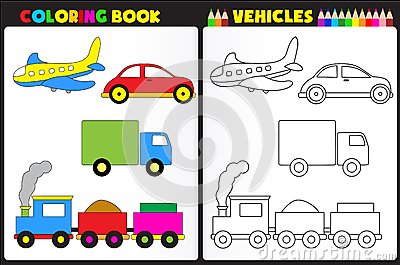 Book Page For Kids With Colorful Vehicles toys And Sketches To Color