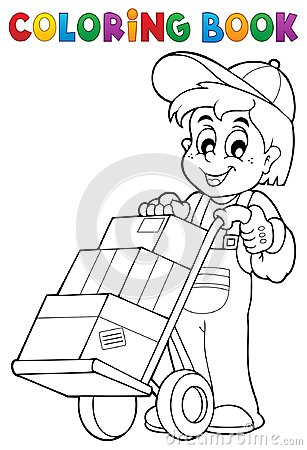 Free Coloring Book Warehouse Worker Stock Image - 94734141