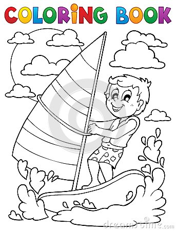 Coloring book water sport theme 1