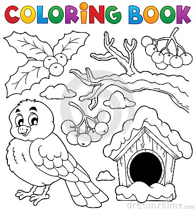 Coloring book winter bird theme 1