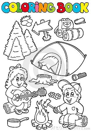 Free Coloring Book With Camping Theme Stock Images - 16368234