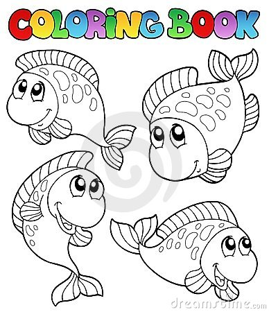 Free Coloring Book With Four Fishes Royalty Free Stock Photography - 16836407