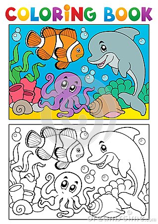 Free Coloring Book With Marine Animals 6 Royalty Free Stock Photos - 28198838