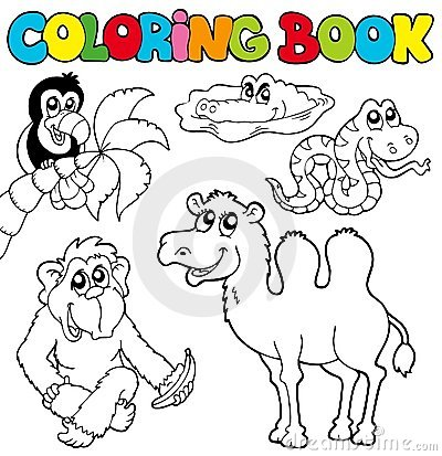 Free Coloring Book With Tropic Animals 3 Royalty Free Stock Photos - 16231378