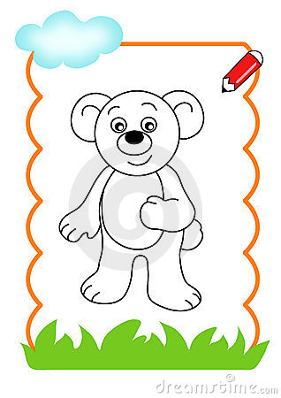 Coloring book of the wood, bear