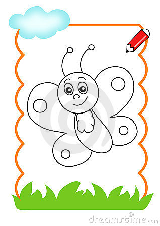 Coloring book of the wood, butterfly