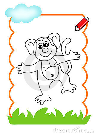 Coloring book of the wood, monkey