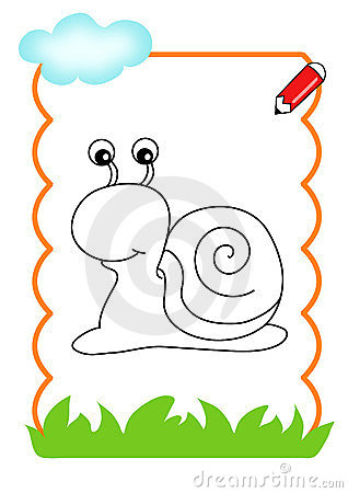 Coloring book of the wood, snail