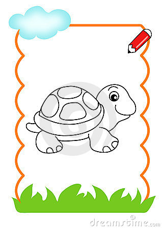 Coloring book of the wood, turtle
