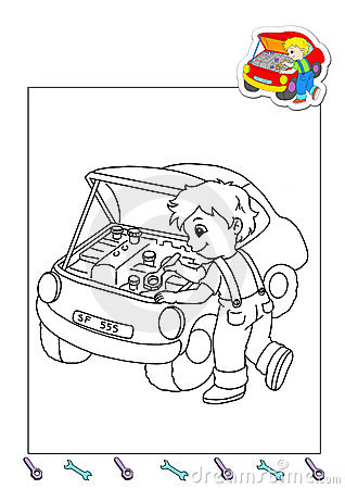 Coloring Book Of The Works 22 Mechanic Royalty Free