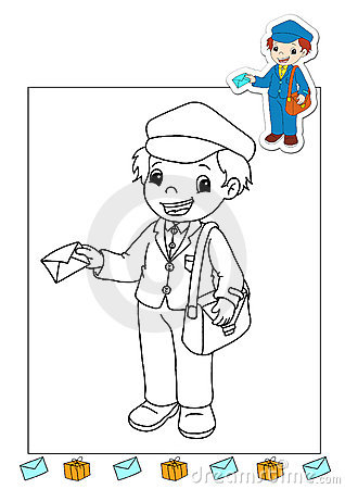 Coloring book of the works 26 - mail carrier