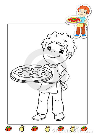 Coloring book of the works 8 - pizza