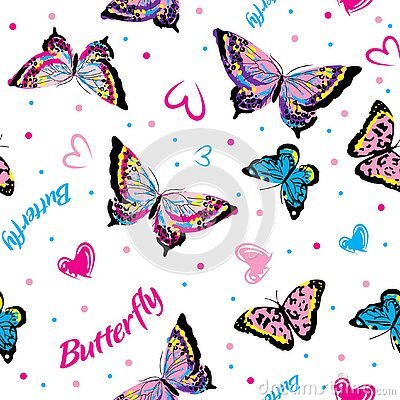 Coloring butterflies in white background seamless Stock Photo