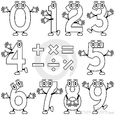 Free Coloring Cartoon Numbers Stock Image - 12457521