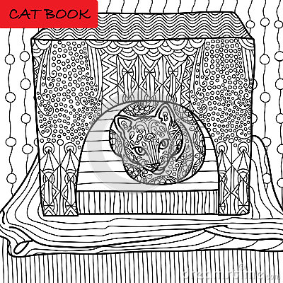 Free Coloring Cat Page For Adults. Serious Cat Sits In His Cat House. Hand Drawn Illustration With Patterns. Stock Photography - 71155702