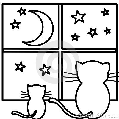 Coloring cats watching moon
