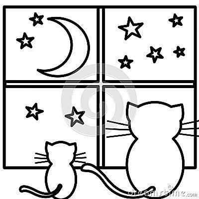 Coloring cats watching moon