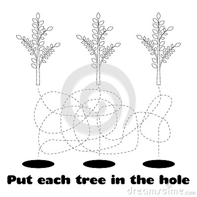 Coloring for Children with Trees Vector Illustration