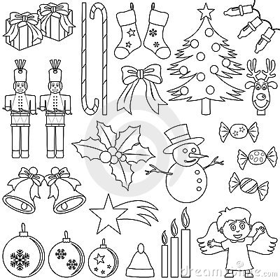 Free Coloring Christmas Elements Royalty Free Stock Photo - 11261765