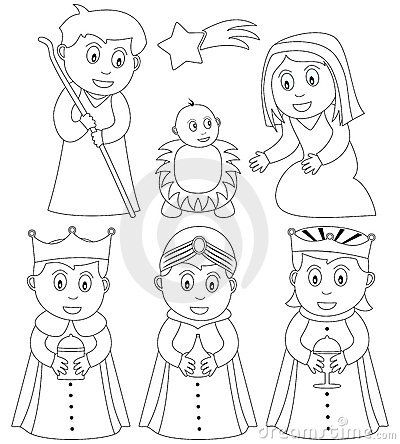 christmas nativity characters mary joseph jesus the three wisemen black and white version useful also for educational or colouring books for kids