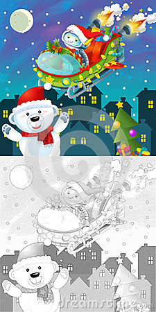 The coloring christmas page with colorful preview
