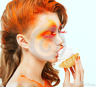 Free Coloring. Creativity. Profile Of Red-haired Woman Eating A Cake With Cream. Blush Royalty Free Stock Images - 29844239
