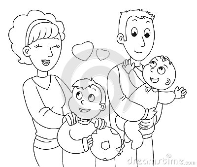 Coloring Family Vector Stock Vector Image 67521402