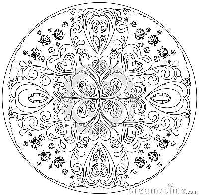 Free Coloring Mandala With Ladybirds Royalty Free Stock Image - 78468296