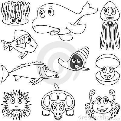 Free Coloring Marine Animals [2] Royalty Free Stock Photos - 9248468