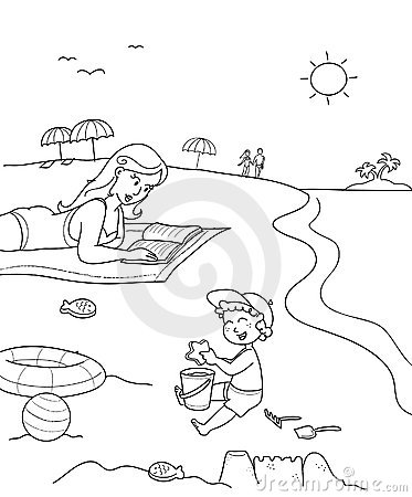 Free Coloring Mother And Son At The Beach Stock Photo - 5695460