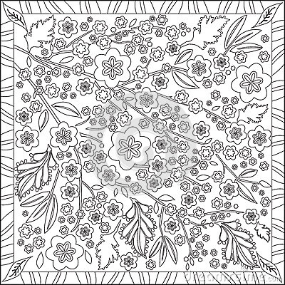 Coloring Page Book For Adults Square Format Cherry Blossom Flower Design Vector Illustration Cartoon